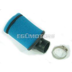 Szivacsos sportlégszűrő, kék, 45 fokos, 35 mm